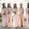 Long Sleeves Side Split V Neck Chiffon Long Wedding Bridesmaid Dresses, BGP288