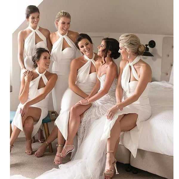 Sexy Halter Side Slit Simple Cheap Short Bridesmaid Dresses, BG51338