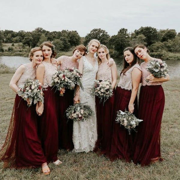 Lace Top Burgundy Two Pieces Romantic Long Wedding Bridesmaid Dresses, BGP290 - Bubble Gown
