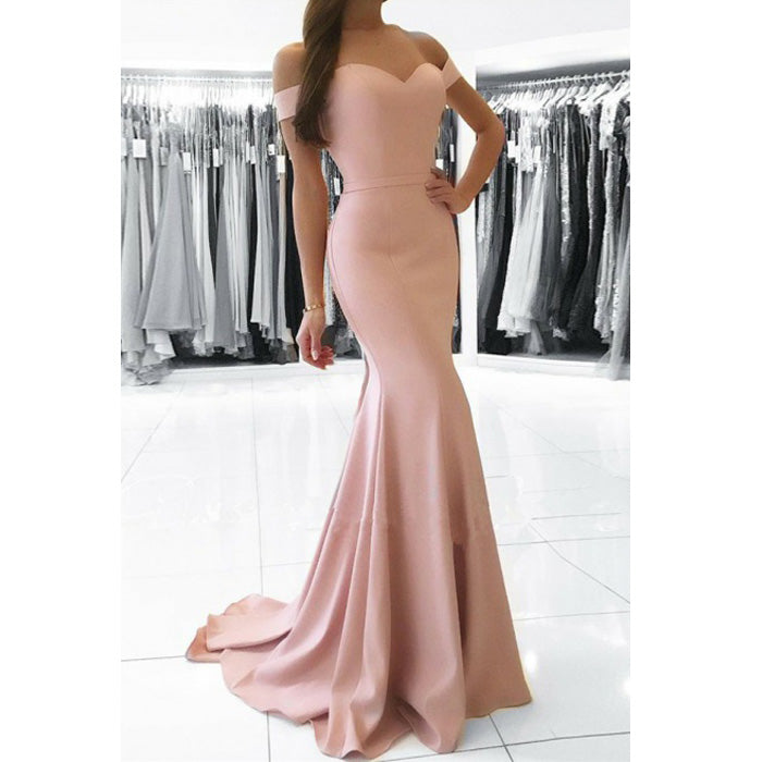 Elegant Off the Shoulder Mermaid Cheap Long Wedding Bridesmaid Dresses, BGP282
