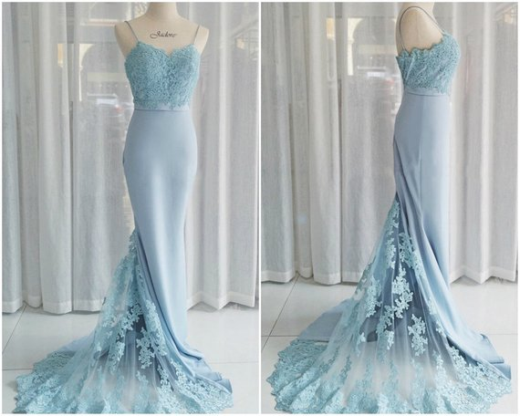 Charming Blue Lace Mermaid Elegant Cheap Long Bridesmaid Dresses, BG51476 - Bubble Gown