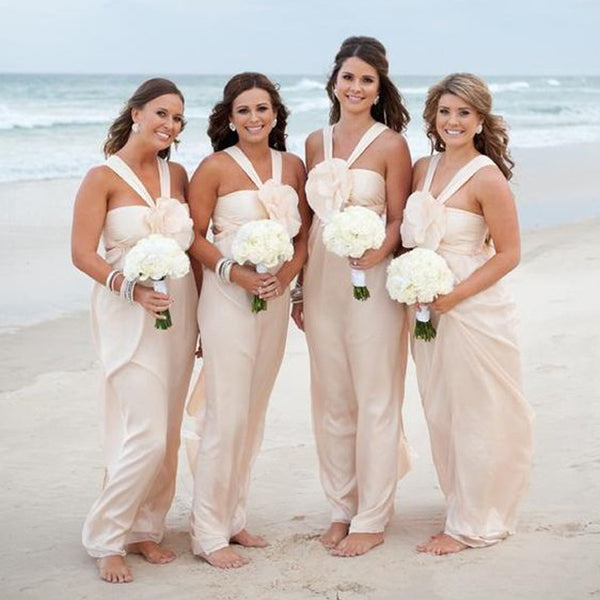 Chiffon Formal Simple Cheap Long Bridesmaid Dresses for Beach Wedding, BD005 - Bubble Gown