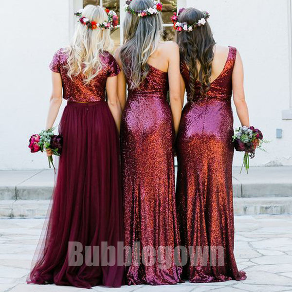 Inexpensive Mismatched Sequin Tulle Long Wedding Party Bridesmaid Dresses, BD009 - Bubble Gown
