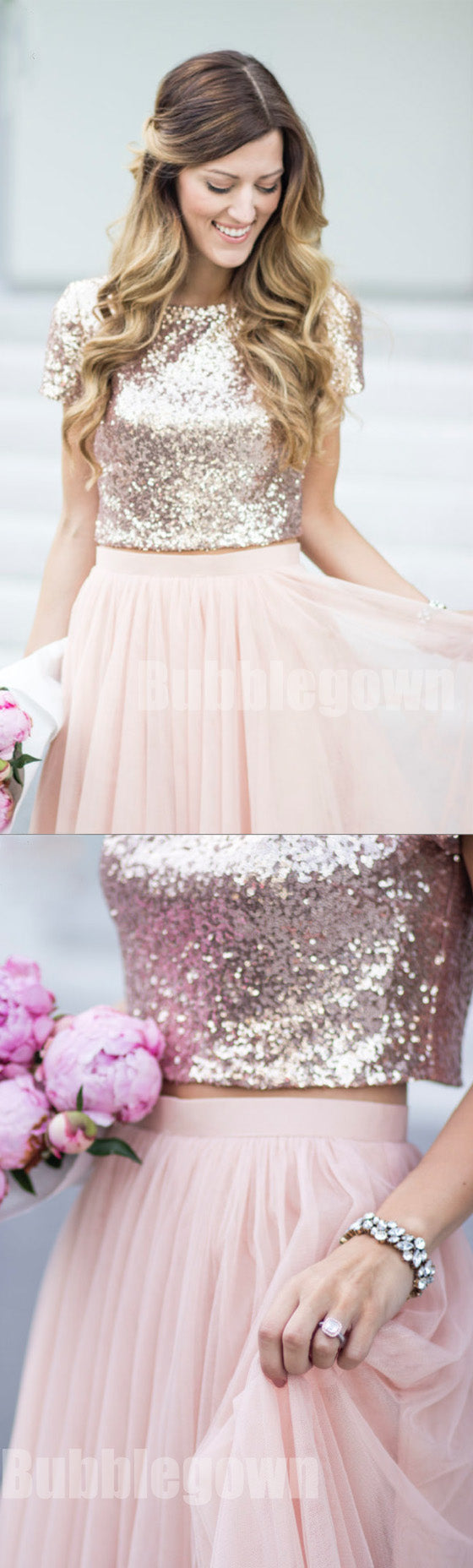 Affordable Short Sleeves Two Pieces Sequin Top Pink Tulle Long Bridesmaid Dresses, BD003