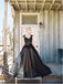 Black Applique Tulle Elegant Cheap Evening Long Prom Dress Ball Gown, BG51495 - Bubble Gown