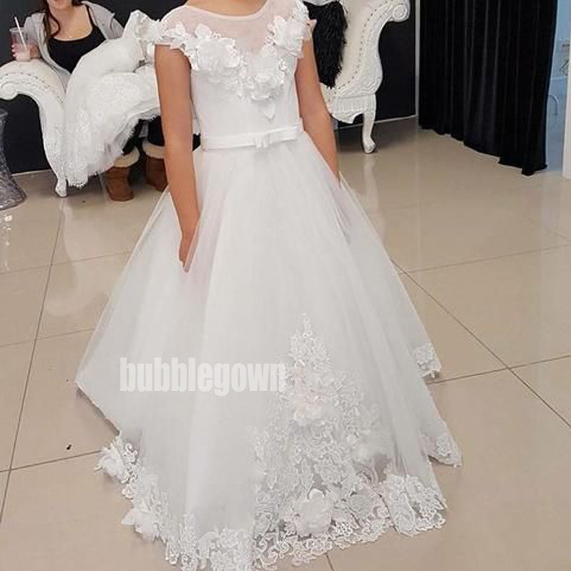 Pretty White Jewel  A-line Tulle Flower Girl Dresses, FDH006