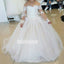 Elegant White  A-line Long Sleeve Tulle Flower Girl Dresses, FDH007