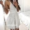 White Elegant Spaghetti Strap Lace Short Homecoming Dresses HDY003