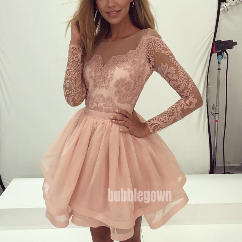 Elegant Dusty Pink Lace Long Sleeves Short Homecoming Dresses HDY004