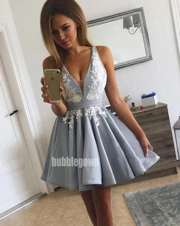 Elegant Deep V-neck Spaghetti Strap Short Homecoming Dresses HDY006