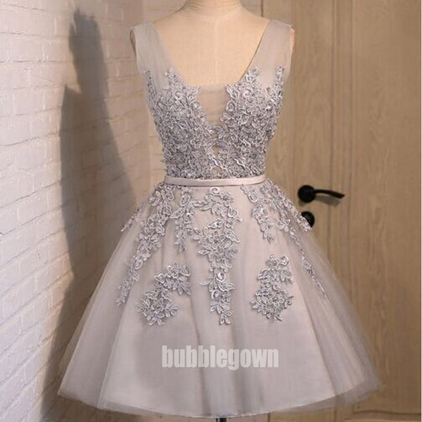 Pretty V-neck Flower Prints Tulle Short Homecoming Dresses HDY007