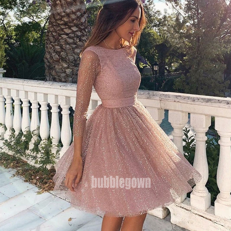 Pretty Sequin Rose Long Sleeve  Short Homecoming Dresses HDY008