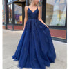 Elegant Spaghetti Strap Navy Long  Homecoming Dresses HDY009