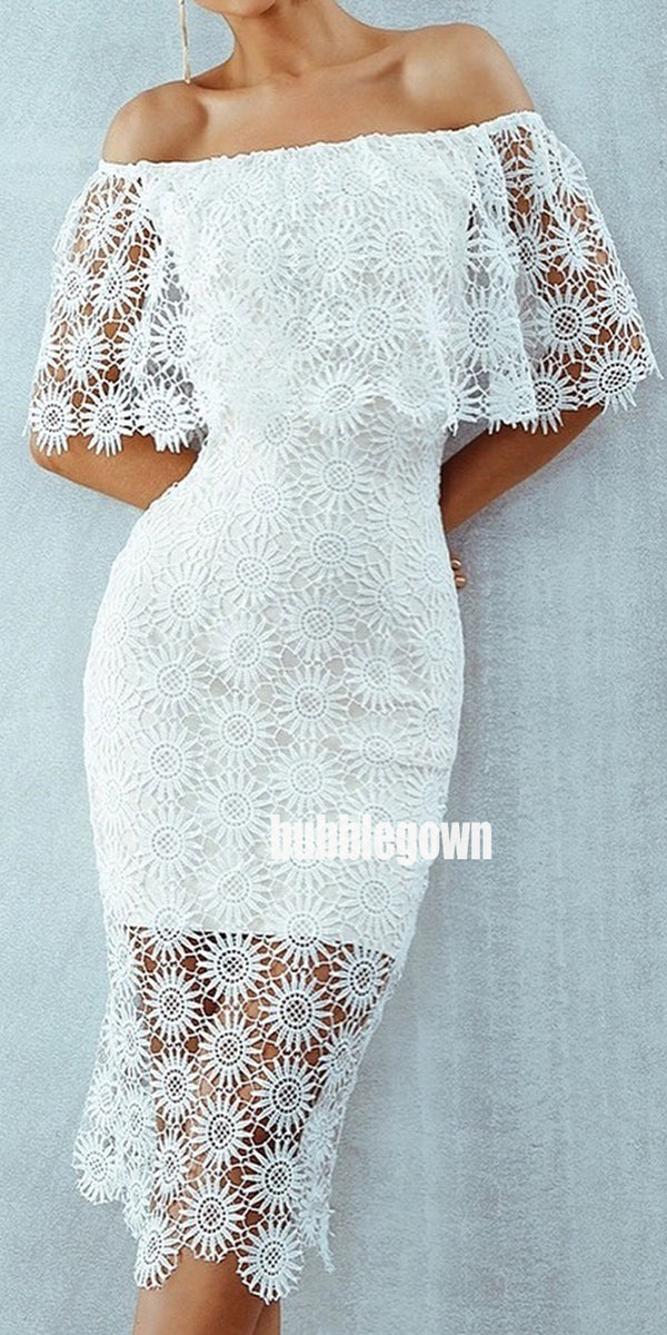 Off the Shoulder Lace Short Homecoming Dresses DSA117