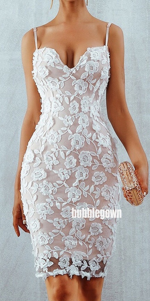 Spaghetti Strap Lace Short Homecoming Dresses DSA116