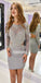 Long Sleeves Open Back Short Homecoming Dresses DSA126