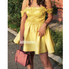 Yellow Off the Shoulder Short Homecoming Dresses DSA128