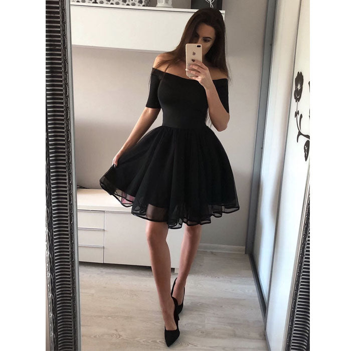 Black Off the Shoulder Short Sleeves Simple Short Homecoming Dresses, BH116