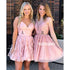 Pretty Lace School Graduation Pink Short Homecoming Dresses DSA131