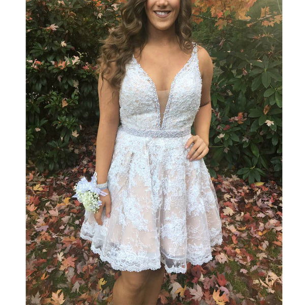Popular V Neck Lace Applique Beads Cheap Short Homecoming Dresses, BH125