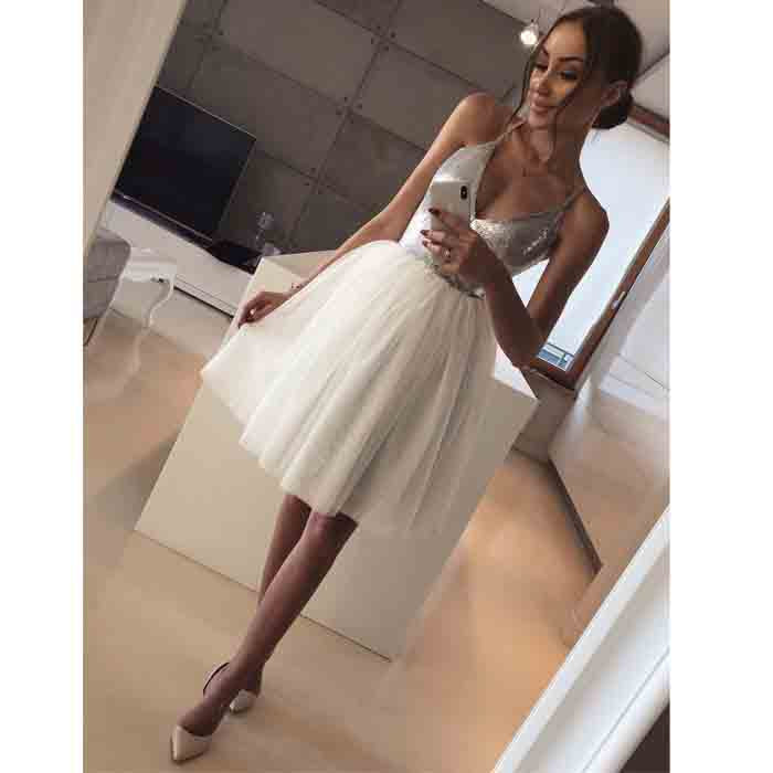 Halter Silver Sequin Ivory Tulle Lovely Short Homecoming Dresses, BH118