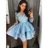 Blue Lace Satin Long Sleeves Cute Short Homecoming Dresses, BH120