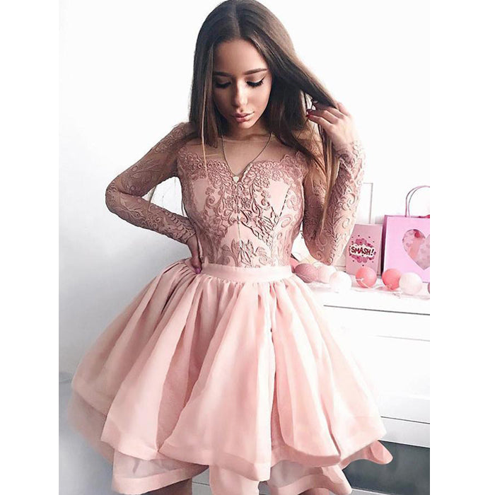 Pretty Lace Long Sleeves Lovely Pink Short Homecoming Dresses, BH112