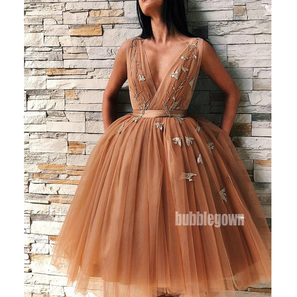 Tulle V Neck Applique Short Homecoming Dresses DSA118