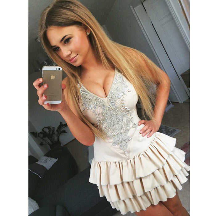 Cute Beaded Online Beautiful Cheap Short Homecoming Dresses, BH108