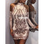 Halter Long Sleeves Short Homecoming Dresses DSA114
