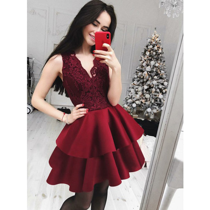 Burgundy Lace V Neck Lovely Inexpensive Short Homecoming Dresses, BH109