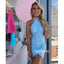 Halter Blue Lace Short Homecoming Dresses DSA125