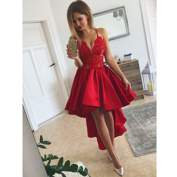 Popular High Low Spaghetti Strap Lace Red Short Homecoming Dresses, BH119