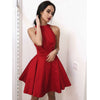 Halter Red Simple Cheap On Sale Short Homecoming Dresses, BH103