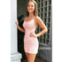 Spaghetti Strap Backless Lace Short Homecoming Dresses DSA122