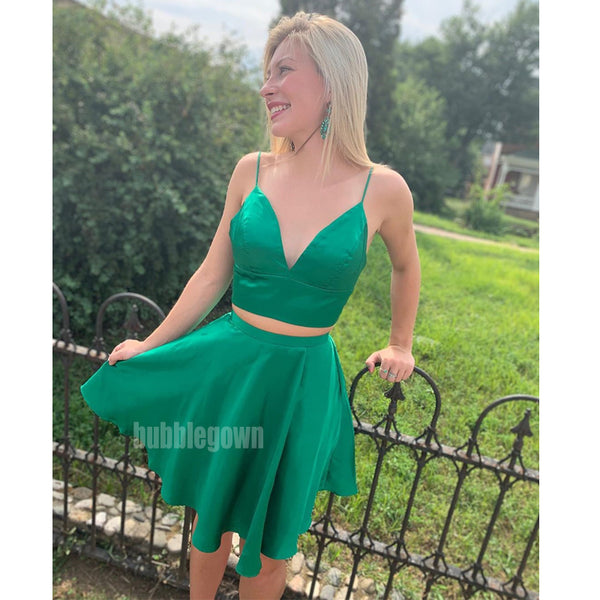 Spaghetti Strap Two Pieces Short Homecoming Dresses DSA130