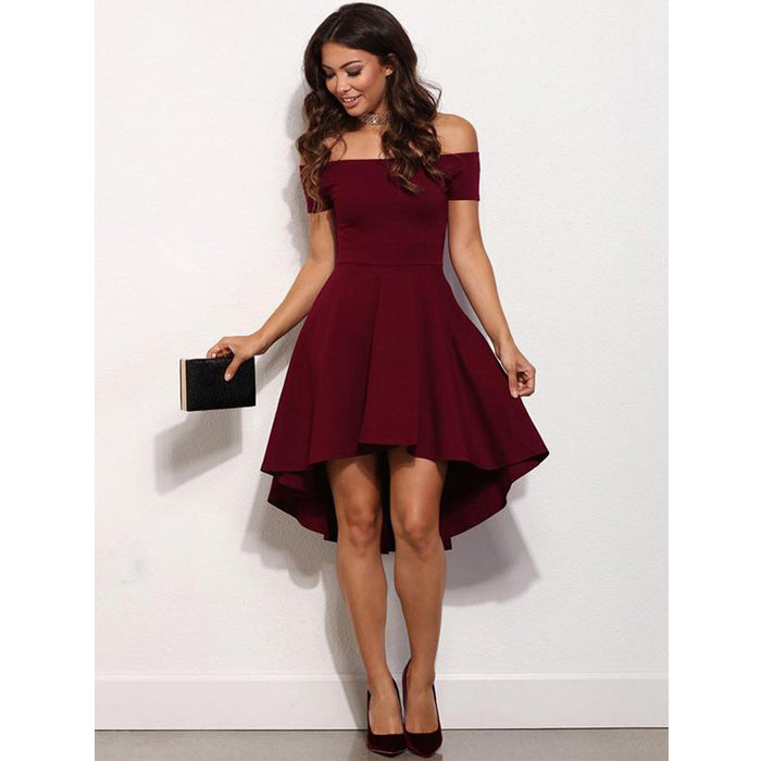 Burgundy Off the Shoulder High Low Simple Cheap Homecoming Dresses, BH102