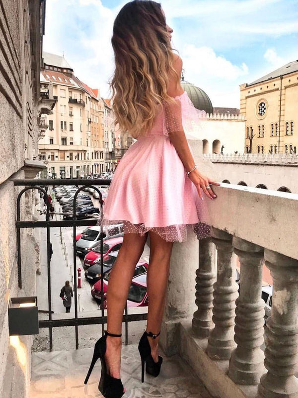 Pink Off the Shoulder Lovely Sweetheart Short Homecoming Dresses, BH123