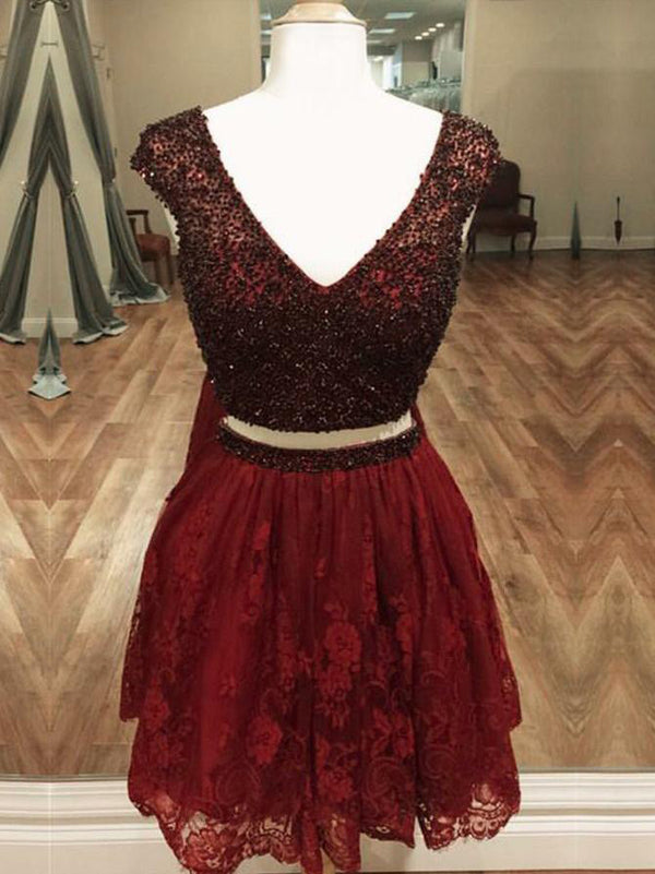 Burgundy Beaded Top Lace Two Pieces Short Homecoming Dresses, BH121 - Bubble Gown
