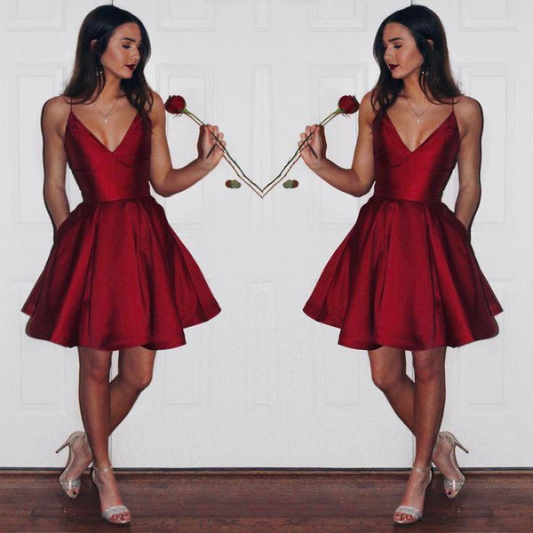 Popular Simple Cheap Spaghetti Strap Short homecoming dress, BH127