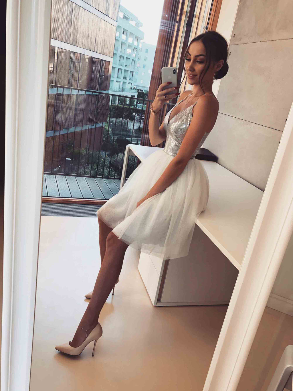 Halter Silver Sequin Ivory Tulle Lovely Short Homecoming Dresses, BH118 - Bubble Gown