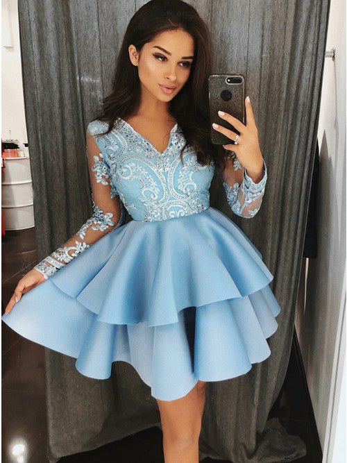 Blue Lace Satin Long Sleeves Cute Short Homecoming Dresses, BH120 - Bubble Gown