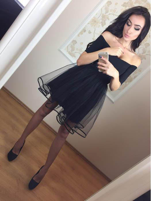 Black Off the Shoulder Short Sleeves Simple Short Homecoming Dresses, BH116 - Bubble Gown