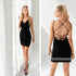 Sexy V-neck Short Column Black  Homecoming Dresses HDY001