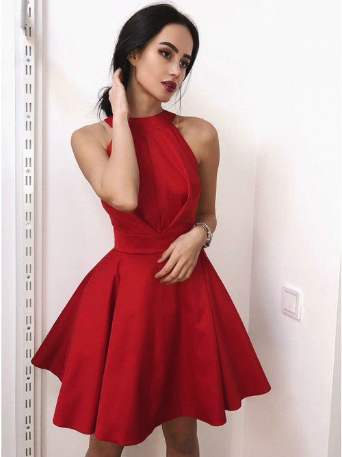 Halter Red Simple Cheap On Sale Short Homecoming Dresses, BH103 - Bubble Gown