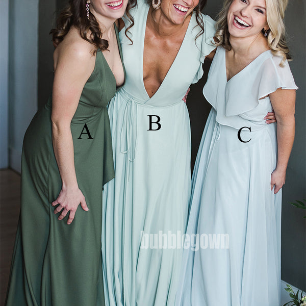 V-neck Mismatched Styles Sleeveless Long Bridesmaid Dresses BMD009