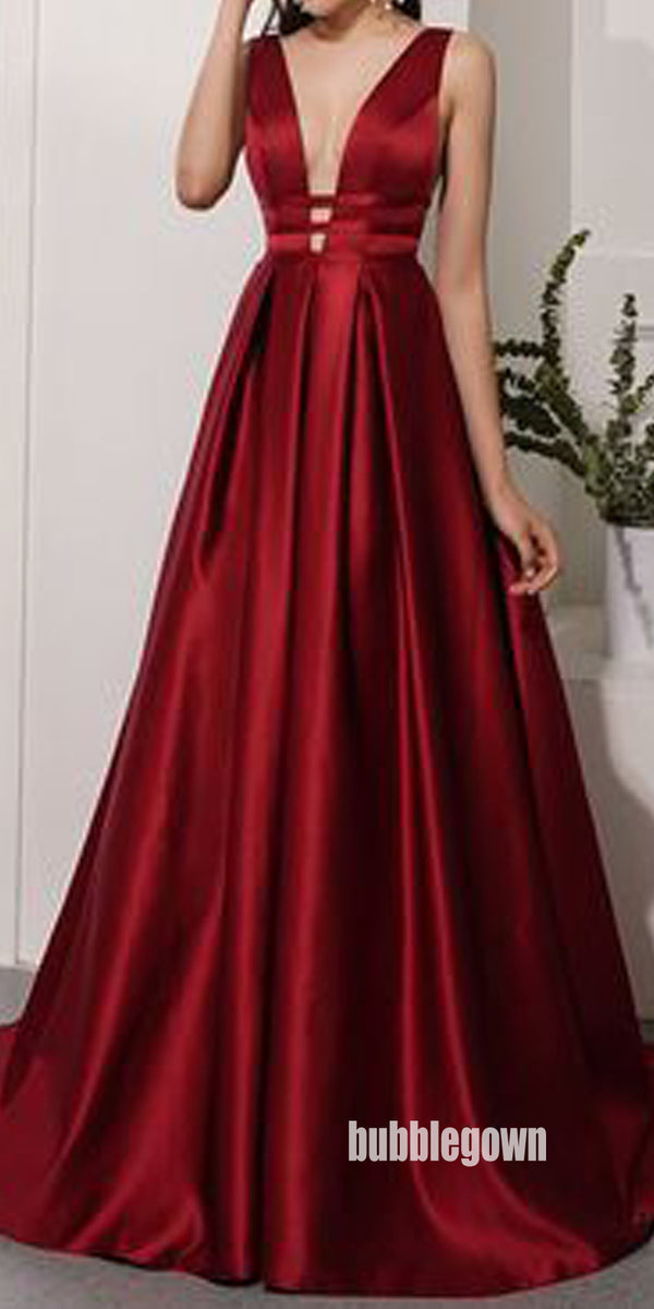 Sexy Burgundy V-neck Stain Long Prom Dresses FP1172