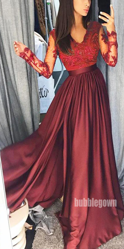 Sexy Lace Long Sleeve Split Side Long Prom Dresses FP1173