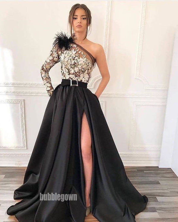 Unique Applique One Shoulder Split Side Black Prom Dresses FP1174
