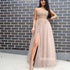 Elegant Blush Pink Applique Split Side Tulle Prom Dresses FP1175